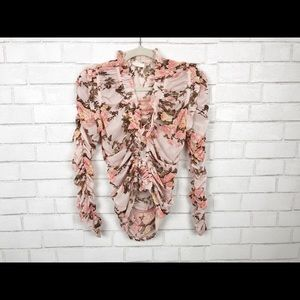 Ruffle Detail Dressy Blouse. Size S/M